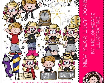 New Year clip art - Lucy Doris - BLACK AND WHITE