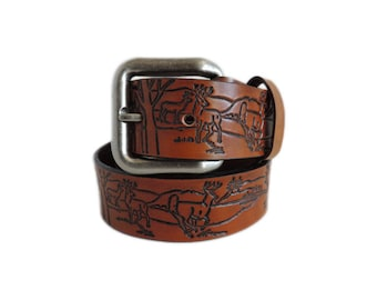 Tan Wildlife Leather Belt