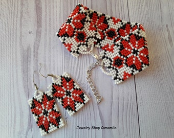 Ukrainian jewelry Ukrainian bracelet Ukrainian earrings Geometric seed bead bracelet Red beaded earrings Ukrainian ornament Beadwork jewelry