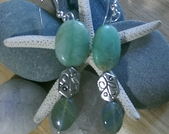 Turquoise Stone Beaded Earrings