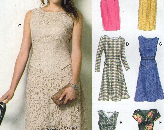 Vogue 8949 Free Us Ship Sewing Pattern High Waist Dress Easy Option Size 8 10 12 14 16 Bust 31 32 34 36 38 Factory Folded (Last size left)