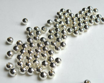 100 Round smooth ball beads silver plated brass beads 5mm 1472MB