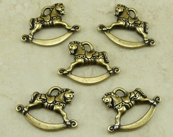 5 TierraCast Rocking Horse Charms - Holiday Baby - Brass Ox Plated Lead Free Pewter - I ship Internationally 2356