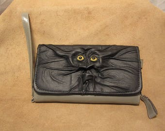 Grichels leather ladies wallet/clutch purse - black with yellow fish eyes