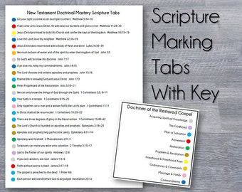All 4 years Doctrinal Mastery Scripture Tabs with Principles  - Doctrinal Mastery Sticker Labels for your Scriptures - LDS Seminary DM