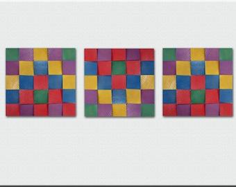 Wall Art - Modern Wall Sculpture - Abstract Art - Painting - Modern Art - Three Pieces