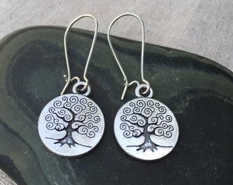 Silver Tree Earrings - Tree of Life Jewelry Everyday Tree Earrings