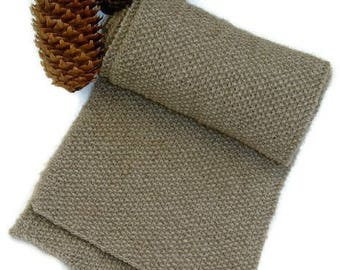 """Hand knit Scarf for men/women in supersoft and warm Qiviut-Alpaca-Merino-blend in seed stitch """"Broughton Island"""" - MADE TO ORDER"""
