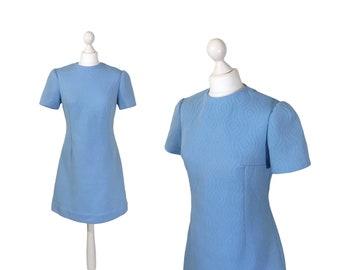 Baby Blau 1960 Mini Kleid | Vintage 60er Jahre Kleid | A-Linie Double Strickkleid