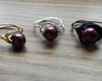 Wine Pearl wire wrapped ring