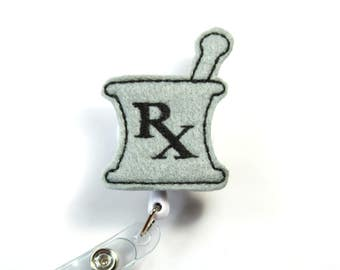 MORTAR PASTEL Felt badge reel, Pharmacy badge reel, Nurse badge holder, Mortar badge holder, Pastel lanyard, Gray badge holder