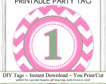 Instant Download - Party Printable Tag, Chevron Hot Pink Party Tag, 1st Birthday Party Tag, DIY Cupcake Topper, You Print, You Cut