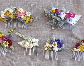 Dried Flower Comb for Brides, Bridesmaids, Flower Girls, Flower Fairies and those that love to wear Flowers in their hair