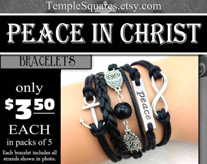 YW 2018 Peace In Christ 5 Strand Bracelets - Young Women Theme Jewelry Charms New Beginnings, YWIE, Christmas, Birthday gift gifts