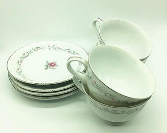 Vintage Set of 4 Tea Cups and Saucers with floral pattern-Royal Swirls tea cup sets--made in Japan--Fine China Porcelain Japan---Silver trim