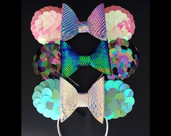 Mermaid Dragon Scales Iridescent Minnie Mouse Ears