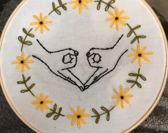 "Embroidery Hoop Art ""Hands of a Woman"""