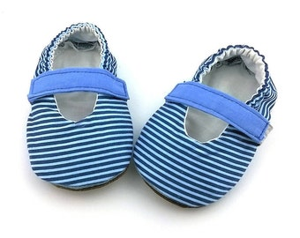 Mary Janes with soft suede fabric sole 100% Vegan Blue striped cotton Newborn girl shoes Stay on shoes-Baby girl slippers-Toddler shoes