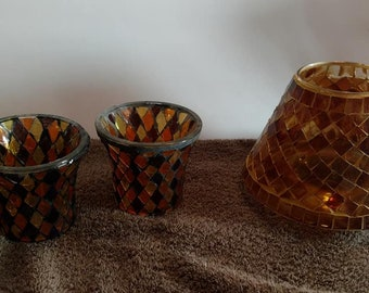 Global Fusion Candle Holder Mosaic Glass PARTYLITE Lot of 3 - 2 votive candle holders and 1 jar shade