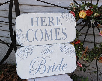 Here Comes The BRIDE ~ Set of 2 ~ Wedding Signs Wedding Decorations Flower Girl Ring Bearer 15X7 Set of 2