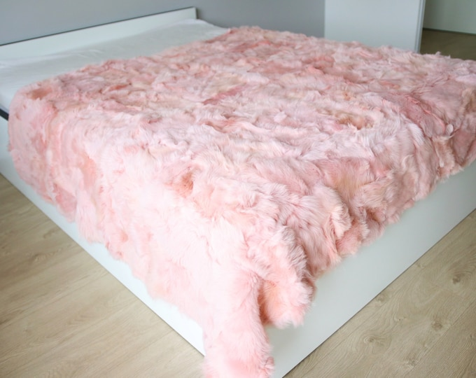 Exclusive Real Pink Sheepskin Blanket Throw, Fur Sofa Throw, Scandinavian Decoration, Throws for sofa,  Sofa throws,  Luxury throws