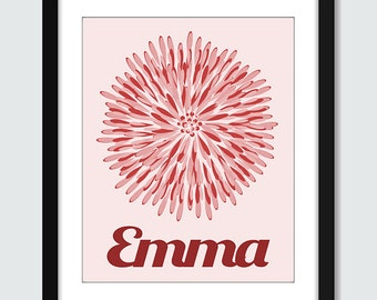 Decor Flower with Personalized Name Wall Art - 8x10 Baby Children Nursery Elegant Wall Print Poster
