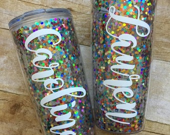 Personalized Multicolored Glitter Confetti Travel Tumbler with Slider Lid, 20oz, Travel Mug, Coffee Cup, Double Walled