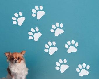 Wall Decals Dog Paws Decal Pet Shop Grooming Salon Decor Vinyl Art Interior Design Nursery Room Home Window Decorations Sticker (MA130)