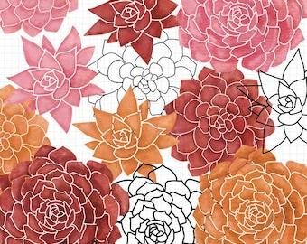 Succulent Clip Art Digital Scrapbook Download - Commercial Use Included