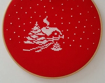 Cross stitch hoop, Hoop art, Winter hoop, Valentine's Day gift, Winter decoration, Wall hanging, Home decor, Ornament, Christmas ornament,