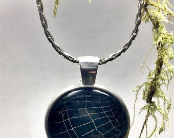 Preserved Real Spider Web Pendant Choker Necklace, Spiderweb Cobweb Unique Handmade Pendant Necklace, Halloween Necklace Gothic