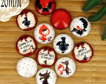 Set of 12 20mm glass cabochons, fairy tale Red Riding Hood, ZC36