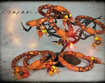Bracelet SAFARI - leather fabric, orange brown and orange dominant and metal beads and wood in assorted colors