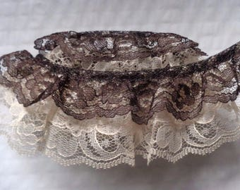 2 inch wide Gathered Lace Combo natural/ Brown selling by the yard