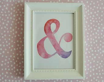 "Ampersand Watercolor Art Print, Wall Art Print, Digital Download Ampersand Print, Instant Download Art Print, 8"" X 10"" Wall Art"