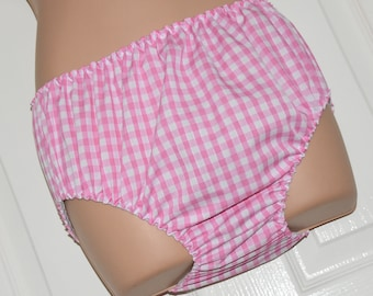 NH 34 - Soft pink gingham adult baby panties, no frills for unobtrusive everyday wear, Sissy Lingerie