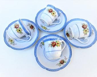 Vintage Espresso Cups and Saucers | Blue White China Sets | Japan Tea Cups Saucers | Floral Teacups | Set of 4