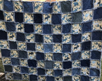 "Upcycled Denim and Animal Silhouette Fabric Rag Quilt 82""x94"" King/Queen, Handmade, Moose, Bear, Deer, Wolf, Rabbit, Blue/Gray, Denim"