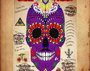 SAMHAIN SKULL MAGICK, Halloween, Book of Shadows Page,  Digital Download, Grimoire, Scrapbook, Spells, Wicca, Pagan, Witchcraft