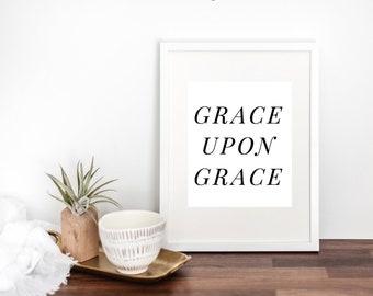 Grace Upon Grace Modern Minimal Scripture Print by Mercy Ink // Christian Bible Verse Art // John 1 // Wedding Gift // Housewarming
