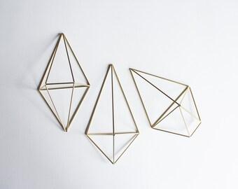The Wall Sconce Trio Set Pollux | 3 Brass Air Plant Holders, Modern Minimalist Geometric Ornament
