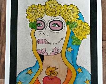 Day of the Dead Tattoo Pin Up Pop Art
