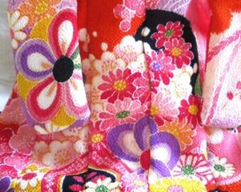 Mini Kimono- Orange Red Chrysanthemum and plum blossom
