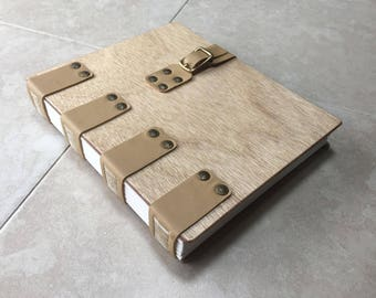 An Elegant Journal or Diary, in Warm Wood and Leather, Available With or Without Buckle Closure