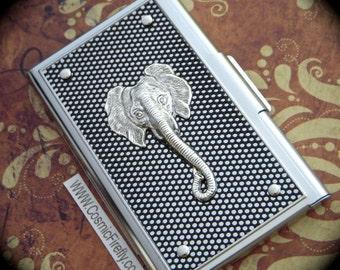 Elephant Business Card Case Silver & Black Industrial Steampunk Card Case Silver Elephant Card Case Unisex Gift