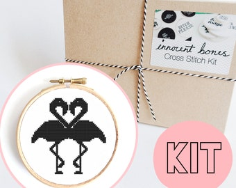 Flamingo Silhouette 2-Way Modern Cross Stitch Kit - easy chart design guide & supplies - tropical kitsch design - embroidery kit popculture