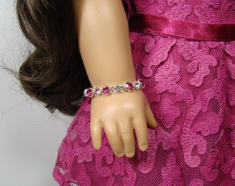 """Merry Magenta Crystal Bracelet for 18"""" Play Dolls such as American Girl®"""