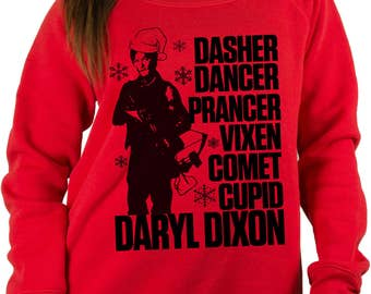 The Walking Dead Christmas Sweater, Tacky Ugly Christmas Sweater Daryl Dixon, Christmas Sweaters, Christmas Sweatshirt, Walking Dead Sweater