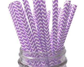 Lavender Chevron 25pc Paper Straws
