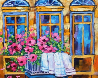 Original oil painting Signed Landscape Art Window wall decor Colorful Flower Wall Art Rebecca Beal